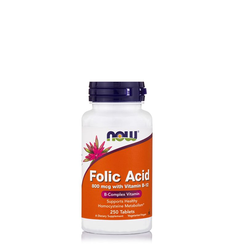 NOW - FOLIC ACID 800 MCG WITH VITAMIN B-12 - FOLSAV B-12 VITAMINNAL - 250 TABLETTA